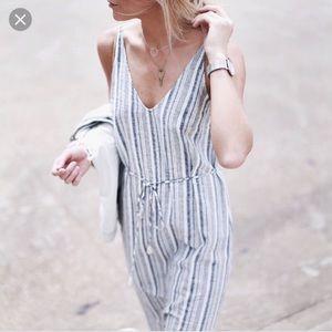 Ann Taylor Linen Blend Striped Midi Sundress